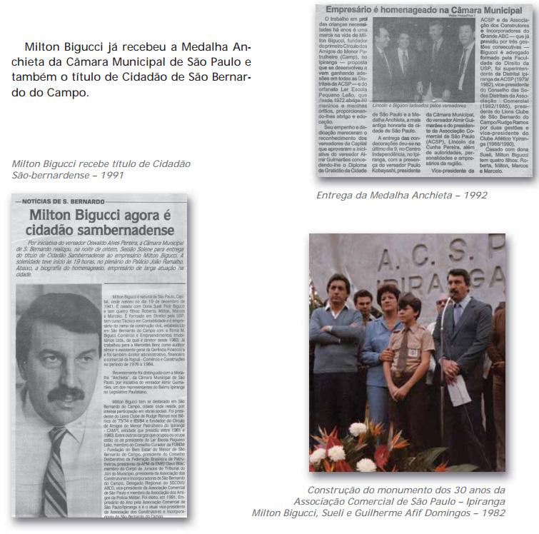 Respeitabilidade - reconhecimentos a Milton Bigucci na imprensa