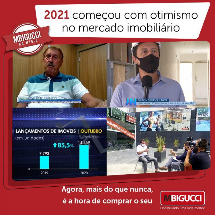 Composição de imagens com fundo vermelho expõe colaboradores da MBigucci nas reportagens televisivas sobre o mercado imobiliário
