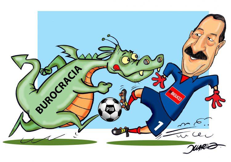 """Ilustração mostra Milton Bigucci triblando uma bola de futebol nomeada """"PIB"""", frente a frente a um dragão nomeado """"Burocracia"""""""