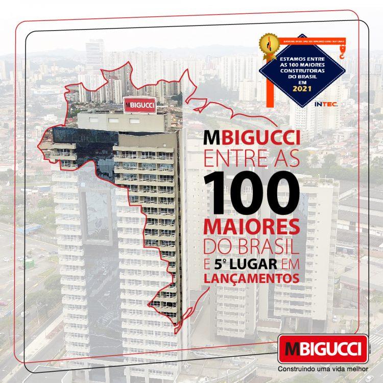 """Ao fundo, imagem residencial Marco Zero, sobreposta por um mapa do Brasil escrito """"MBigucci entre as 100 maiores do Brasil e 5º lugar em lançamentos""""."""