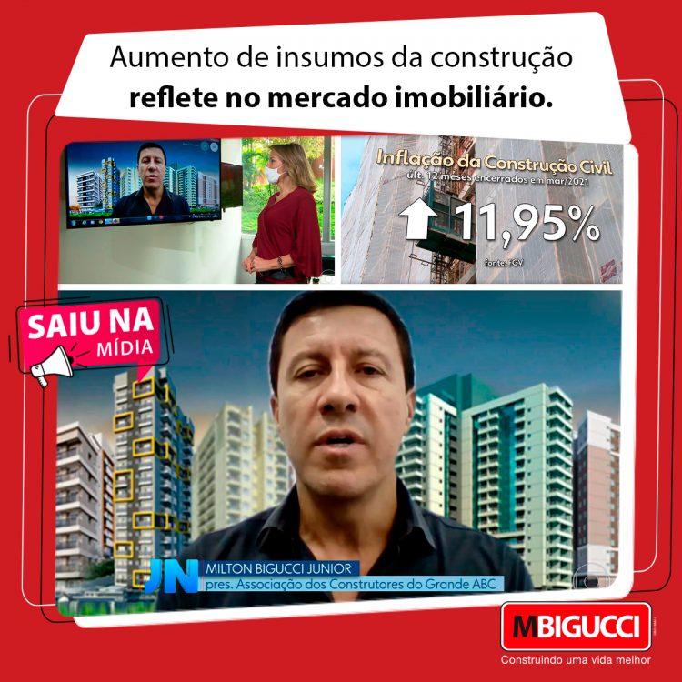 Moldura expõe imagens da participação de Milton Bigucci Junior nas matérias jornalísticas da Rede Globo.